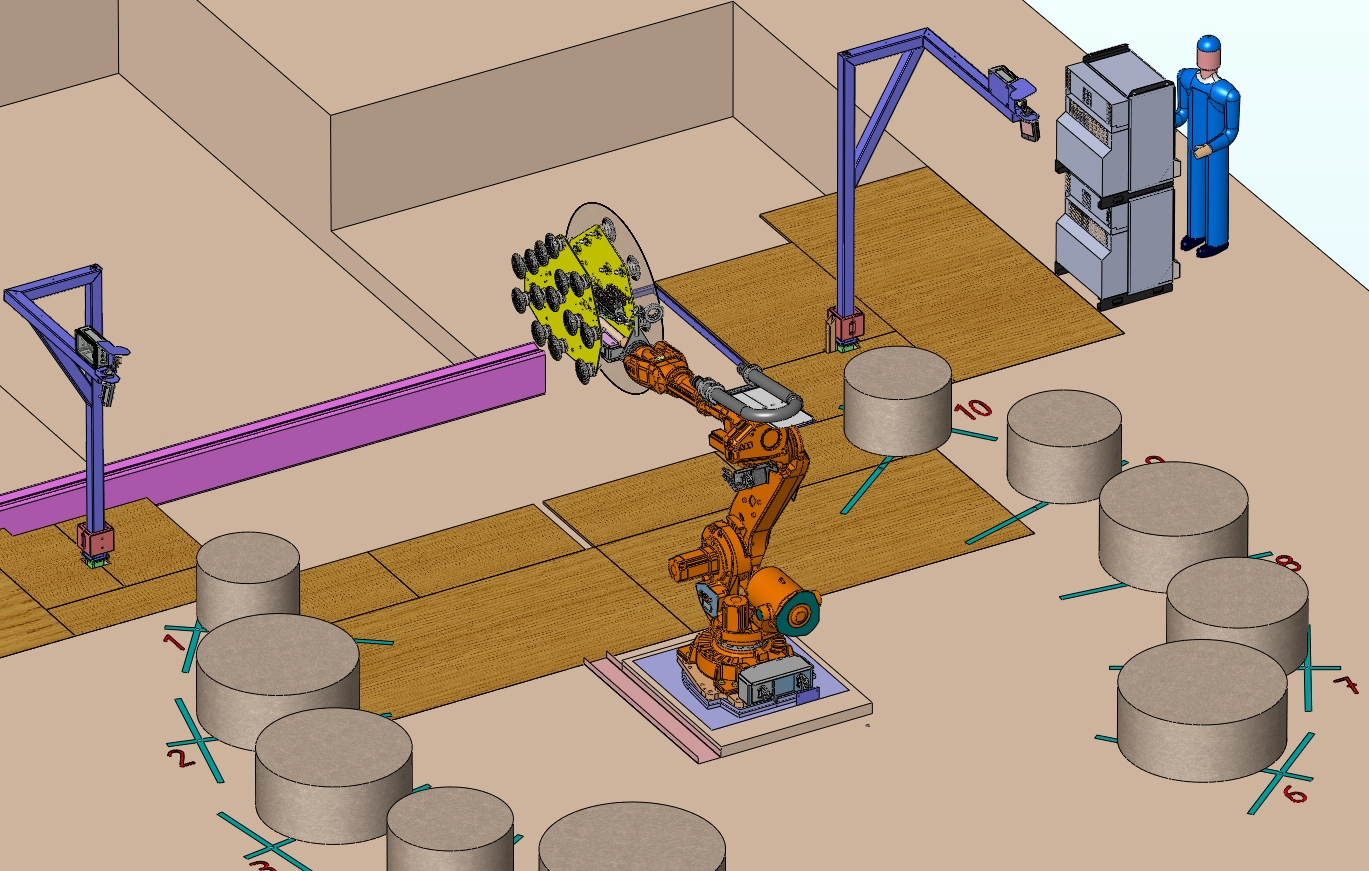 3D-ontwerp opstelling robot met tooling